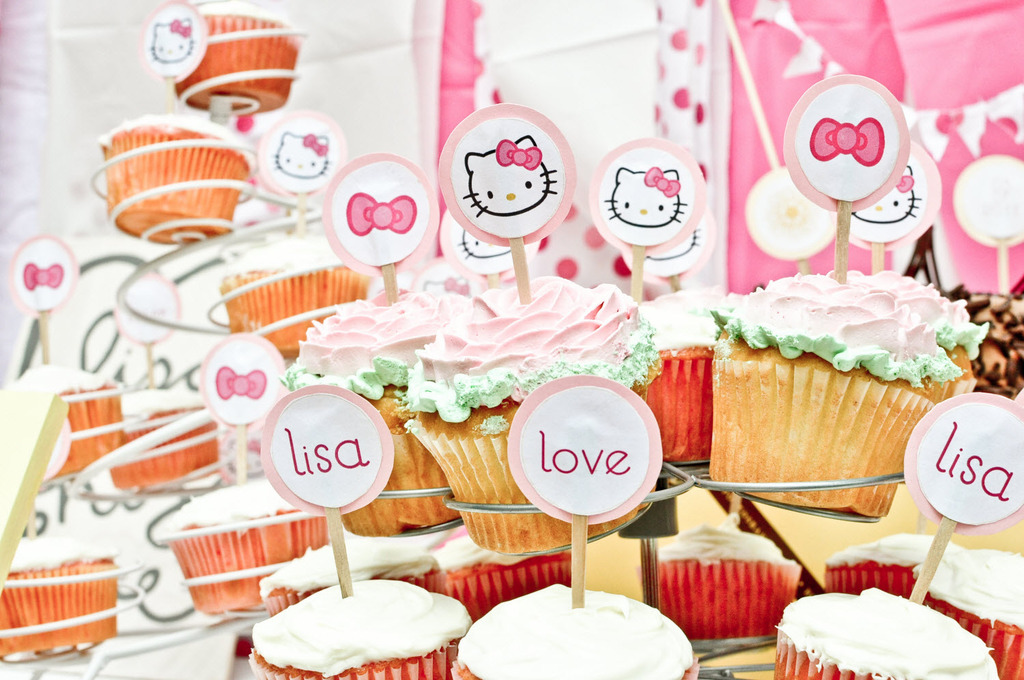 Chocolate Cake At California Bridla Shower Adorned With Hello Kitty Themed Toppers