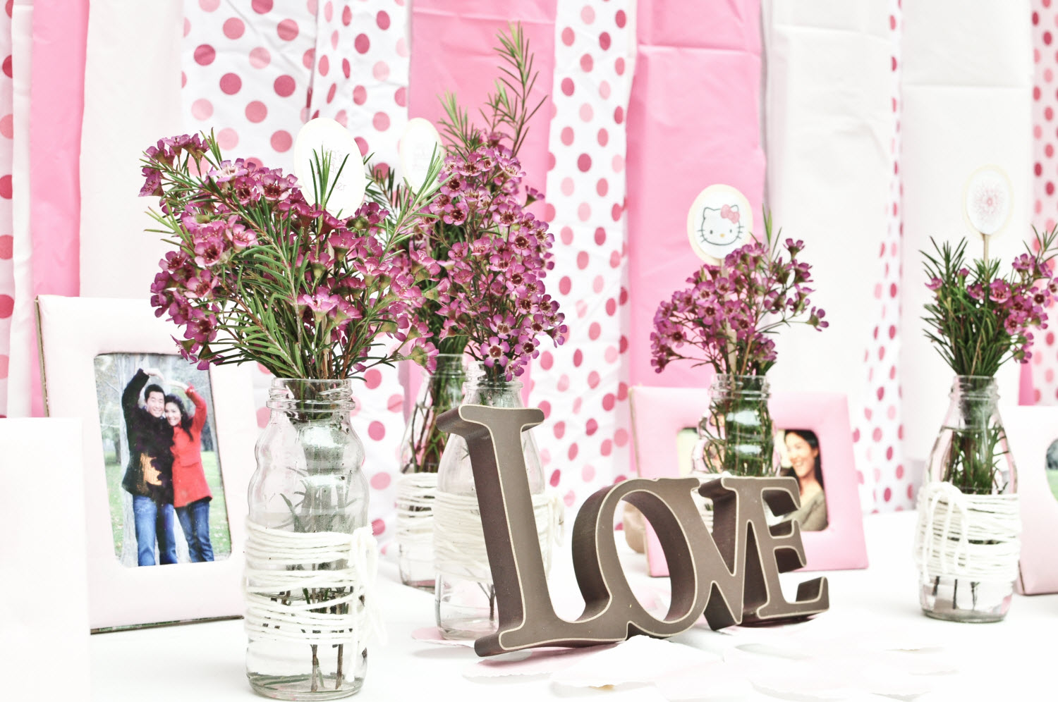 Pink Polka Dot Backdrop With Romantic Escort Card Table At