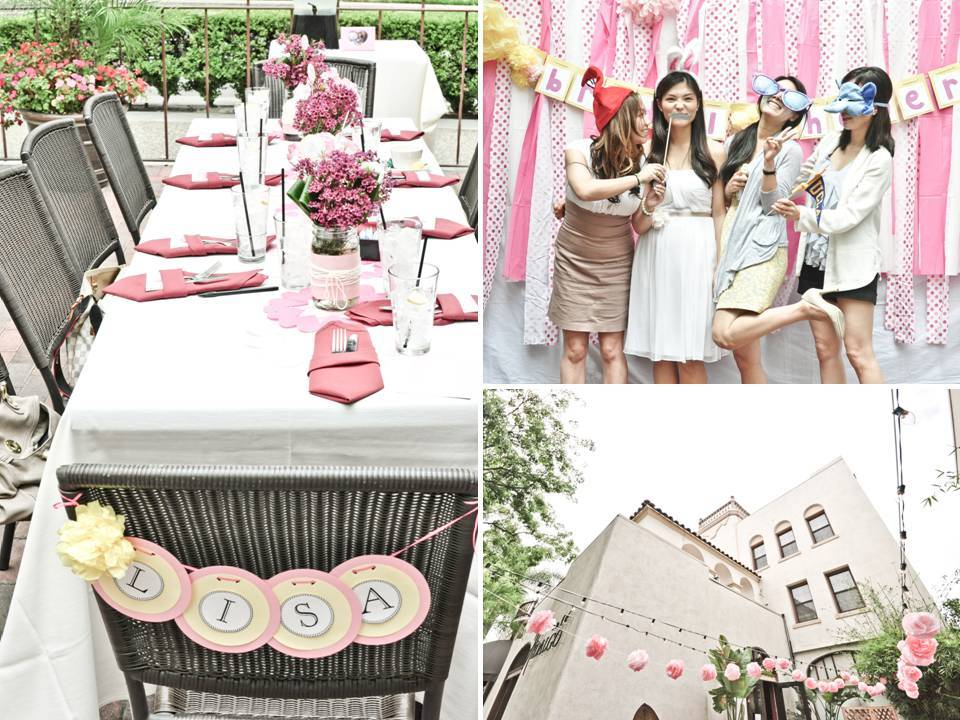gorgeous outdoor bridal shower tablescape with girly hello kitty inspiration