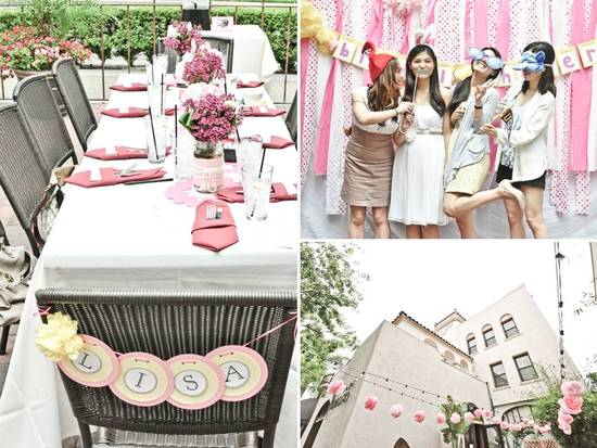 Gorgeous outdoor bridal shower tablescape with girly, Hello Kitty inspiration