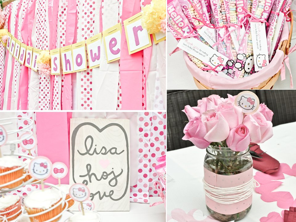 641acb6bc18d Hello Kitty themed California bridal shower with girly pink rose table  centerpieces and delicious gu
