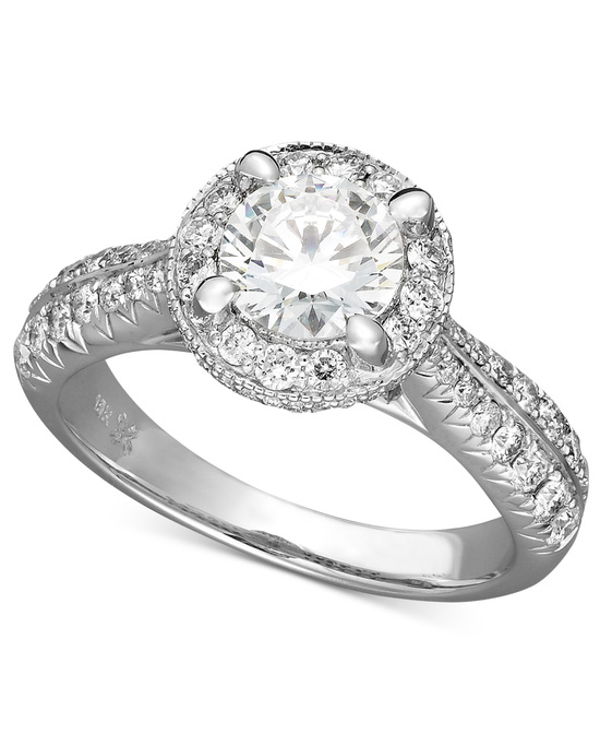 White Gold Multiple Stones Engagement Ring IE1365CWA1