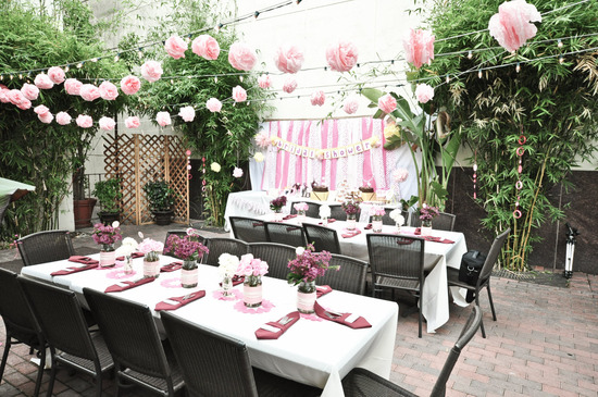 Girly outdoor California bridal shower with soft pink, white and yellow color palette