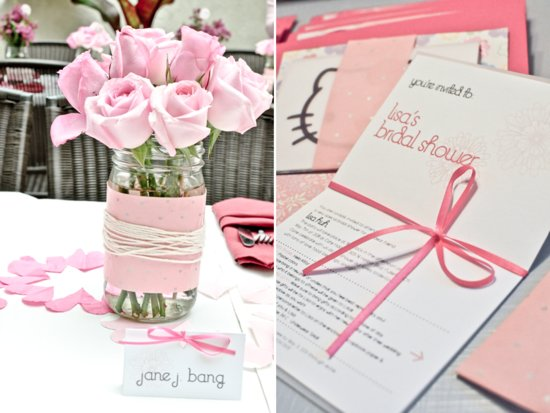 Light pink roses in mason jars for bridal shower centerpieces, and Hello Kitty-themed bridal shower