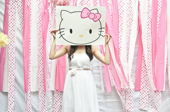 Girly pink, white and yellow California bridal shower with Hello Kitty theme