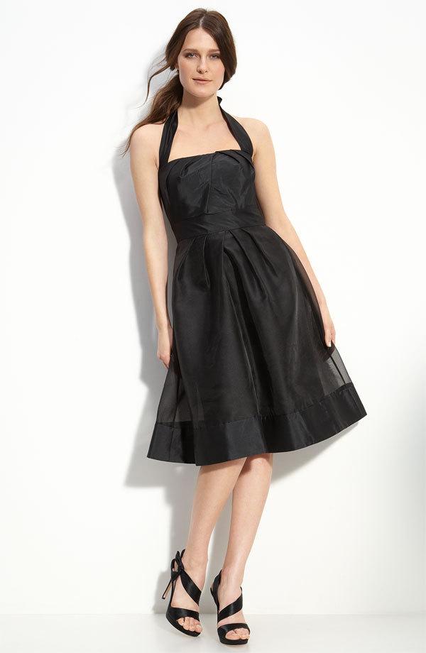 Black Tea Length Bridesmaid Dress