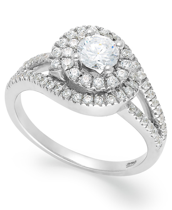 White Gold Multiple Stones Engagement Ring R33308