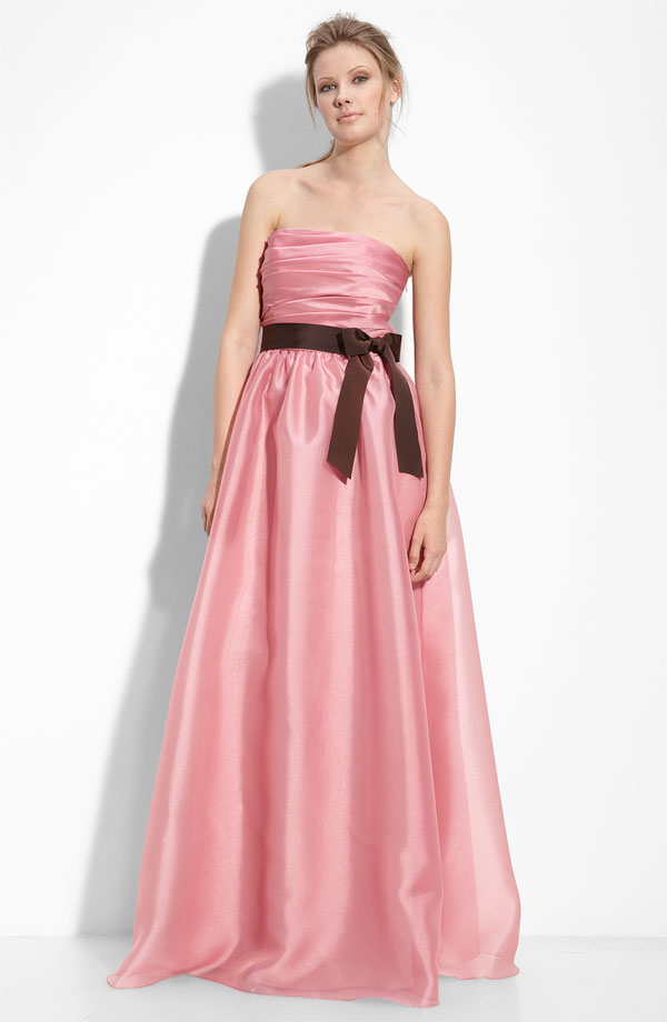 Pink taffeta full length bridesmaids dress with brown sash for Monique lhuillier pink wedding dress