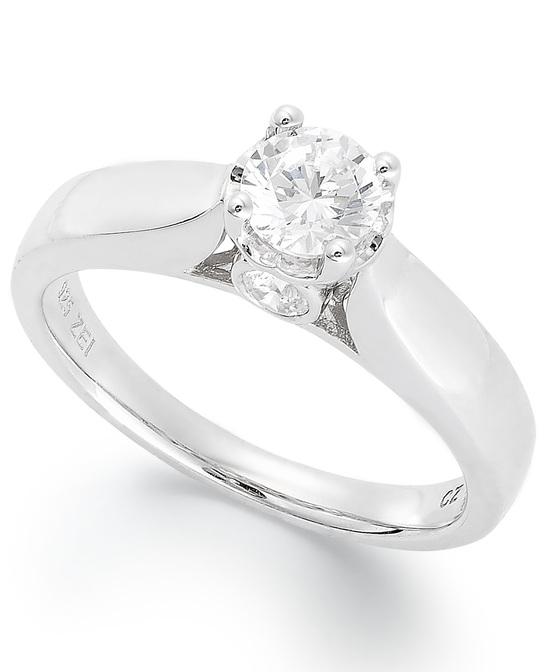 White Gold Solitaire Engagement Ring DOS75SC