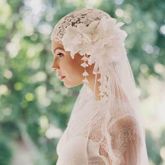 1920s Headpiece and Lace Veil by Erica Elizabeth Design