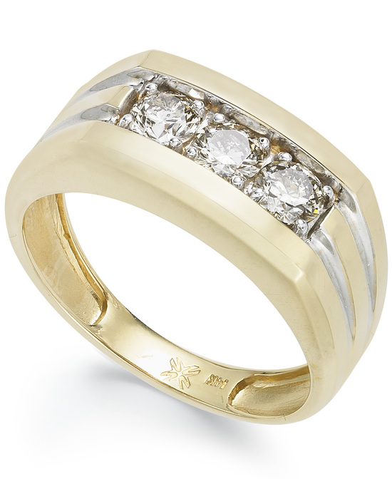 Yellow Gold Multiple Stones Wedding Ring M11545