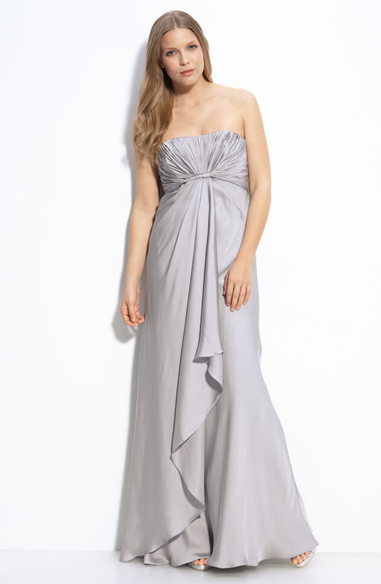 Silver strapless empire bridesmaid dress by Monique Lhuillier