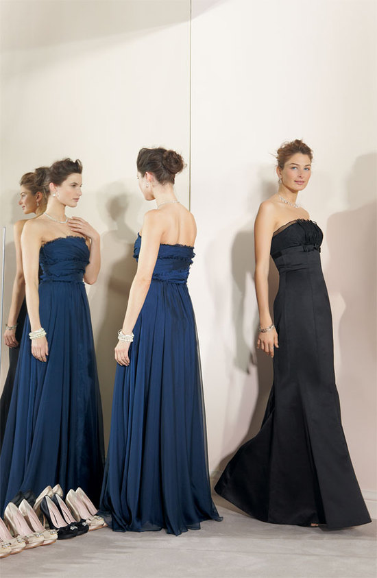 Elegant navy blue and black strapless bridesmaids' gowns by Monique Lhuillier