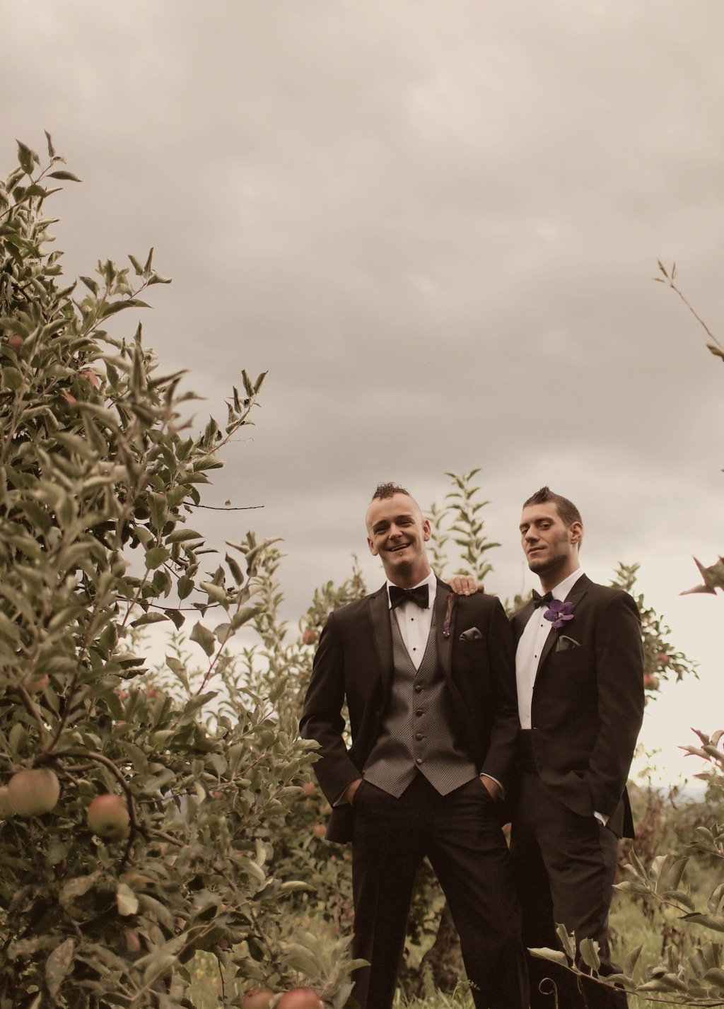 Grooms in fashionable tuxes