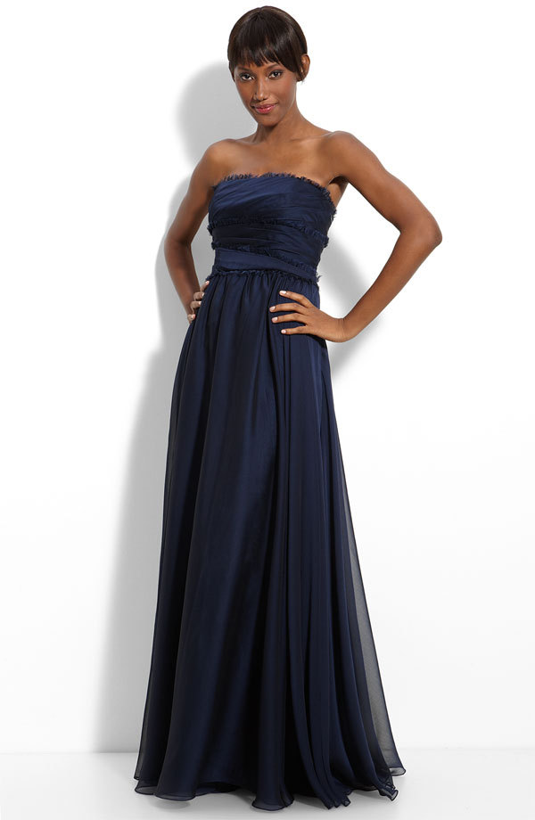 8068aca97852 Gorgeous navy blue strapless bridesmaid dress with fringe trim by Monique  Lhuillier