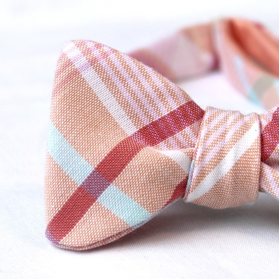 Preppy peach, red, sky blue plaid groom's bow tie