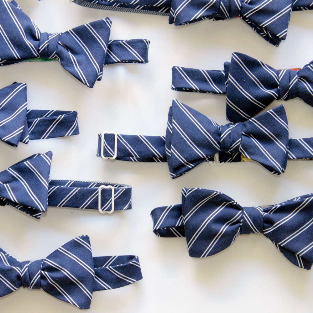 Navy-blue-striped-grooms-bow-tie-preppy-wedding-style.full