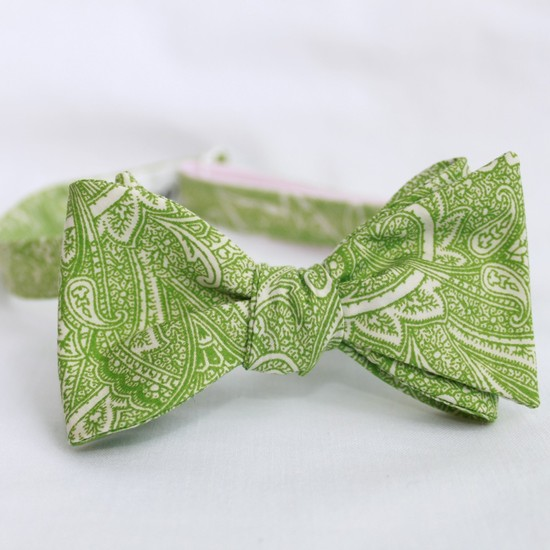 Lime green and ivory paisley bow tie for groom and groomsmen
