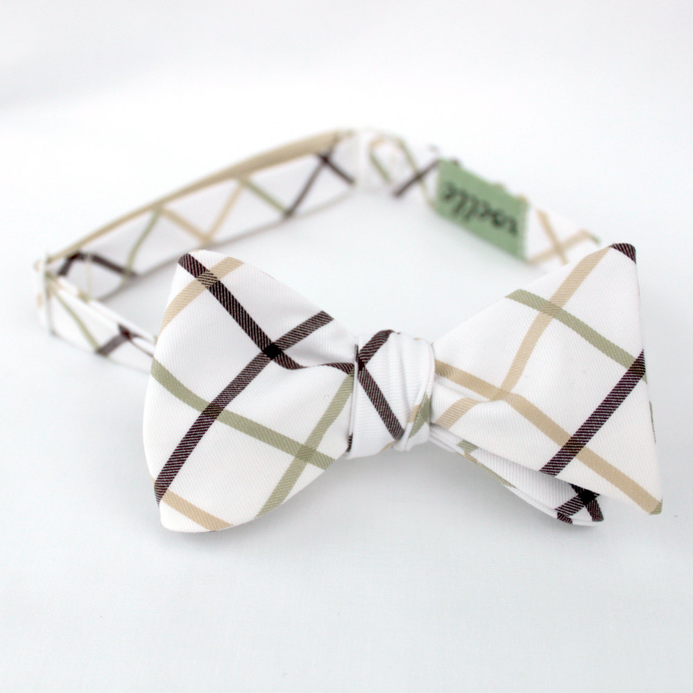 Preppy plaid bow tie for grooms and groomsmen in taupe, red and muted aqua