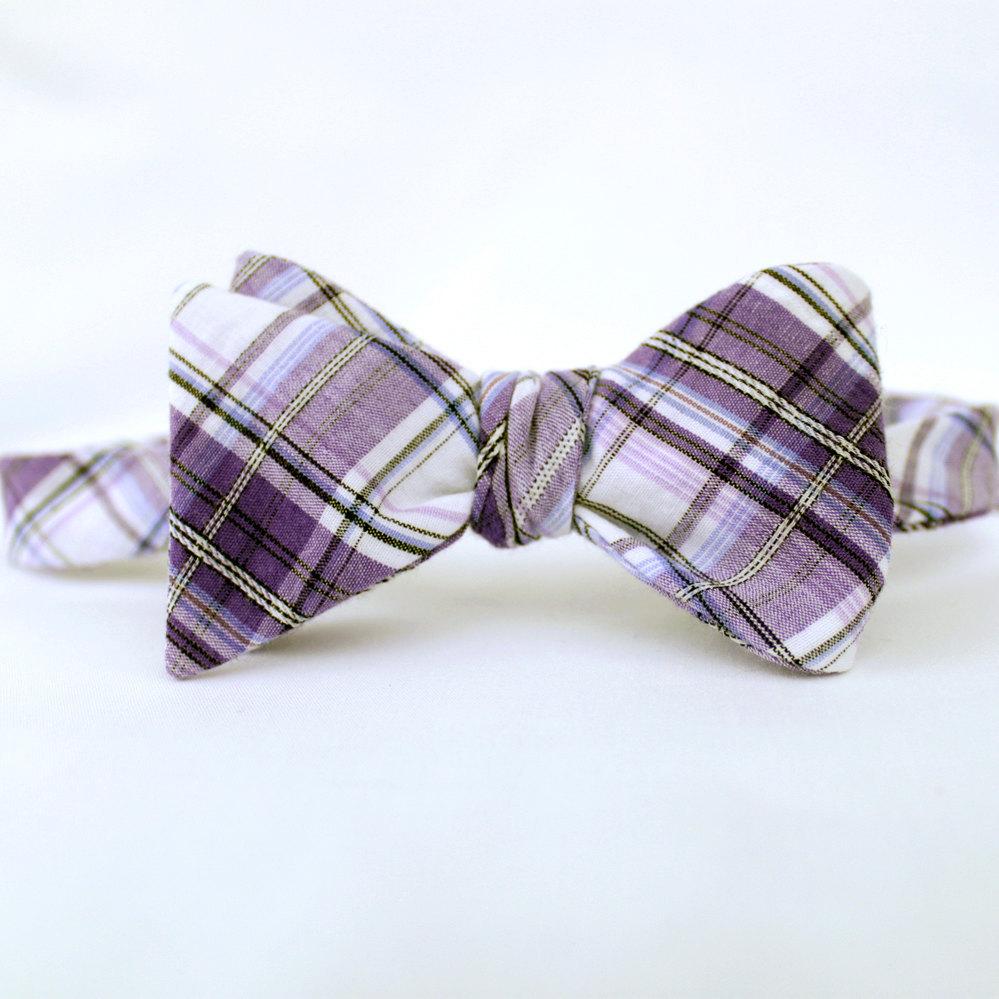 Grooms-bow-tie-formal-wear-plaid-purple-wedding.full
