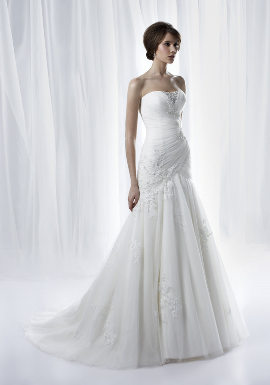 Simple strapless drop-waist mermaid bridal gown from Anjolique's Spring 2012 wedding dress collectio