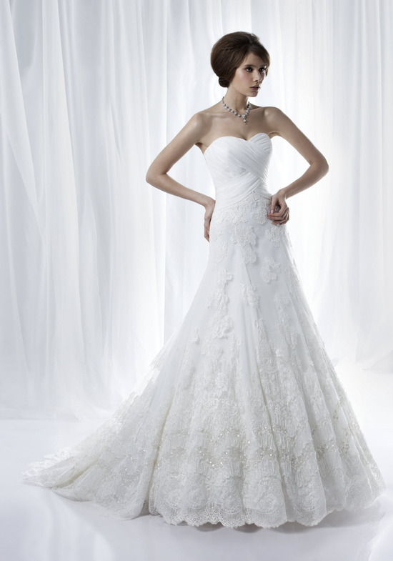 Romantic white strapless a-line wedding dress with beading embellishment from Anjolique's Spring 201