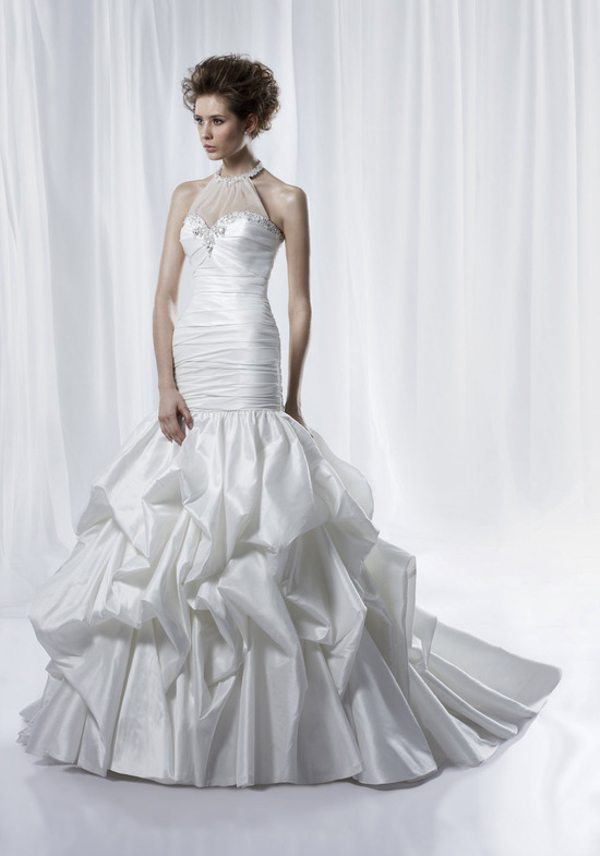 Ivory drop-waist mermaid wedding dress with sweetheart neckline and sheer halter overlay