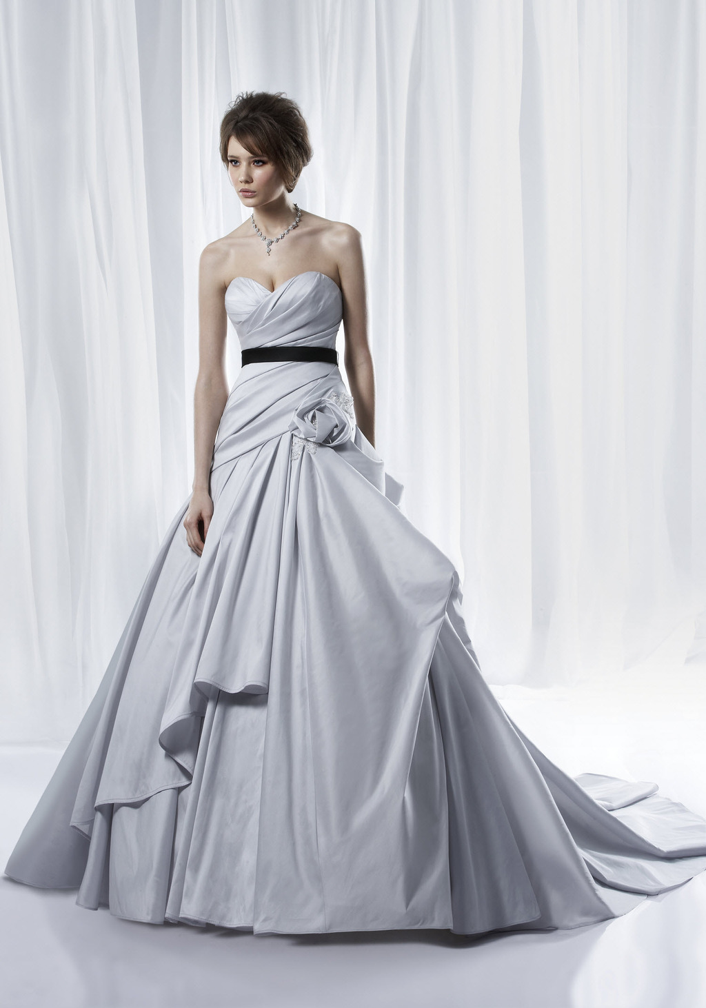 Non white dove grey ballgown wedding dress with modern for Silver and white wedding dresses