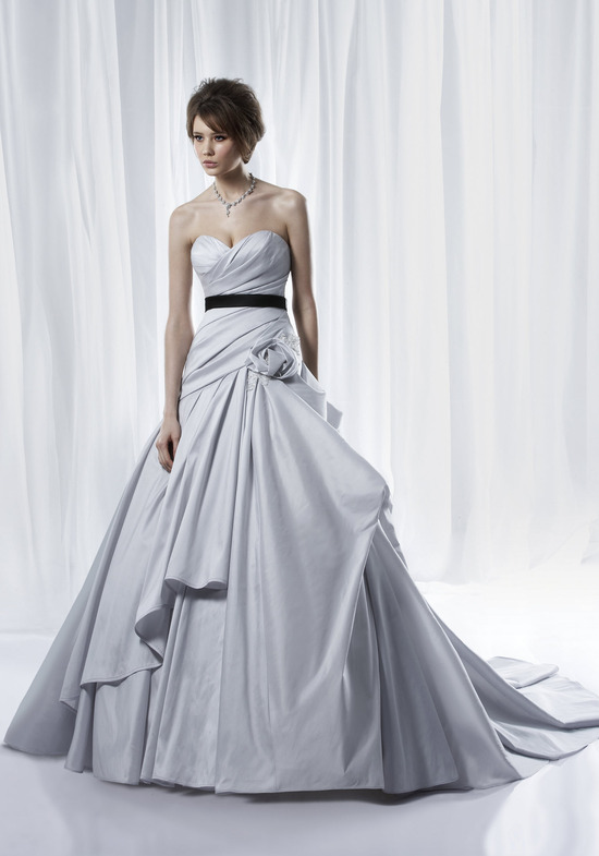 Non-white dove grey ballgown wedding dress with modern bustle and black bridal sash
