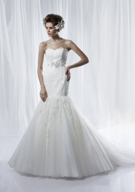 Sweetheart lace mermaid wedding dress with drop-waist and beaded bridal sash
