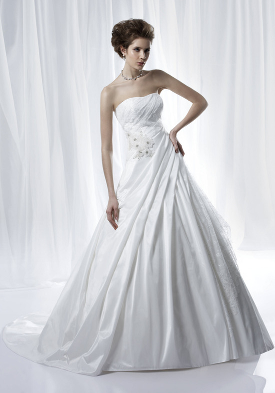 Timeless ivory strapless a-line wedding dress with asymmetrical pleating and embellished bodice