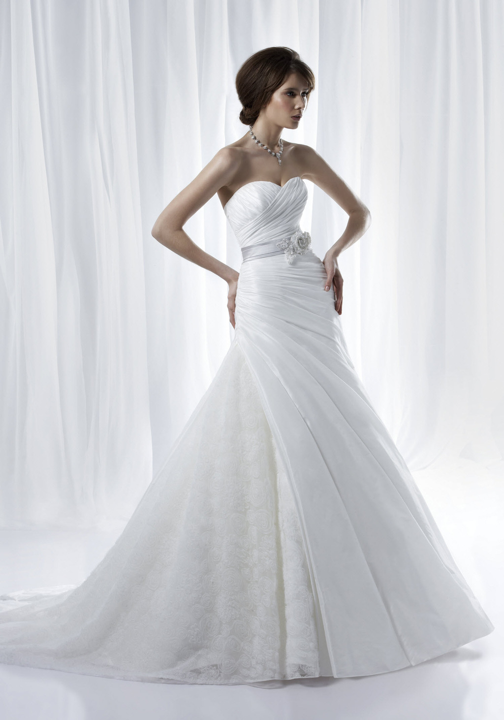 White a-line sweetheart neckline 2012 wedding dress with beaded bridal belt