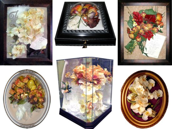 Wedding flowers and  bridal bouquets preserved and framed as keepsakes