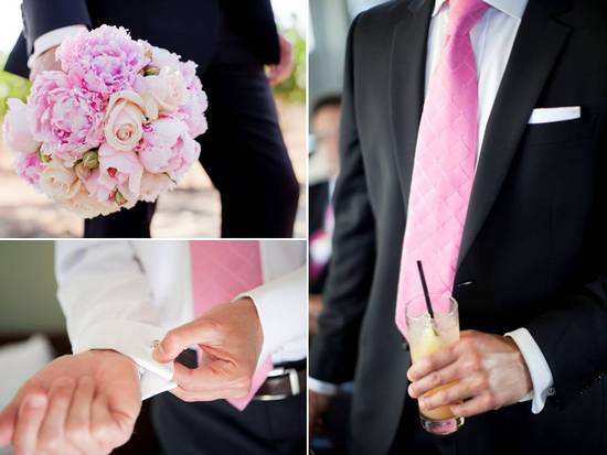 Casual California groom wears black tailored suit, pink tie, holds bride's romantc pink peony bridal