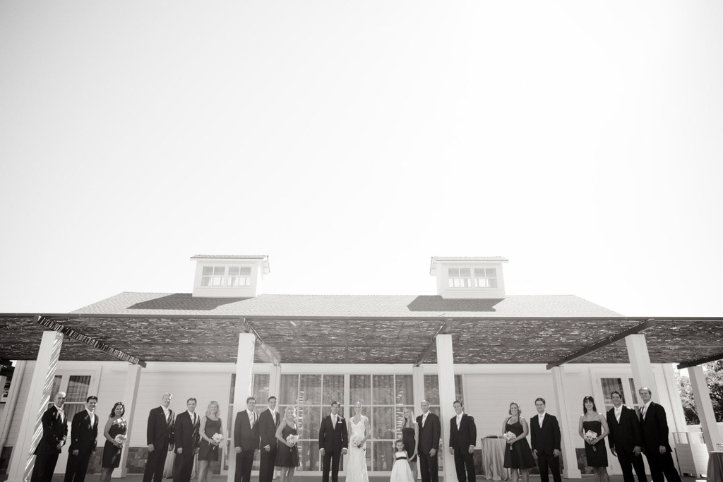 Artistic black and white wedding photo at outdoor California winery wedding