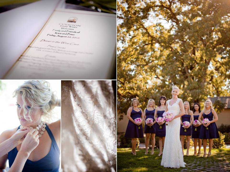 Fall wedding in Napa- blushing bride wears ivory lace wedding dress, bridesmaids wear navy