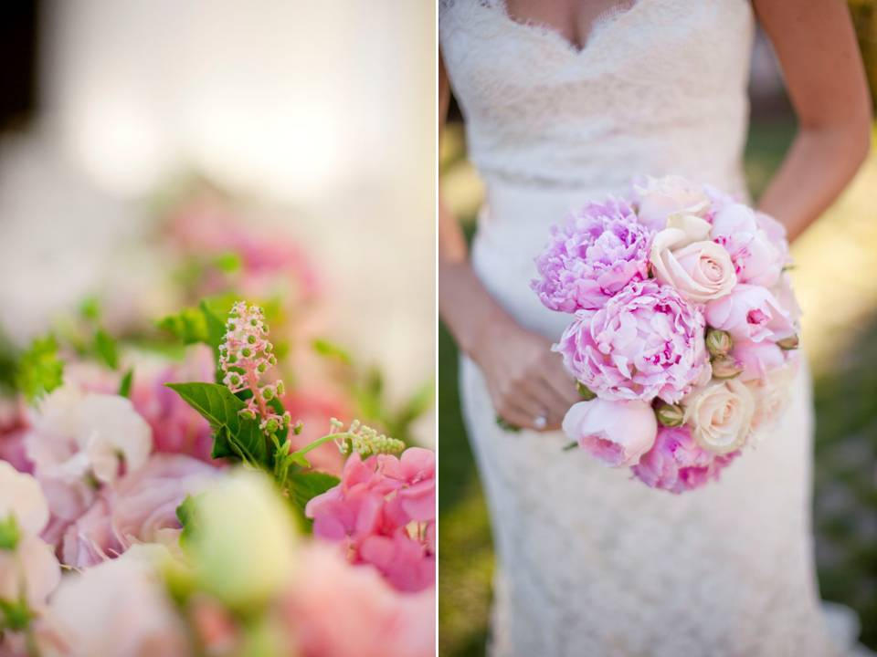California Bride Wears Ivory Lace Halter Wedding Dress Clutching Soft Pink Peony Bridal Bo