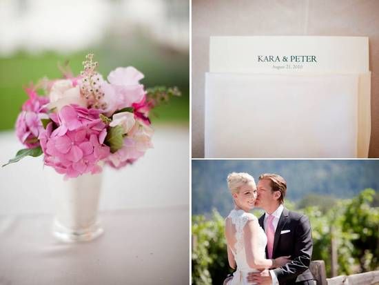 Soft, romantic pink and ivory peony bridal bouquet at Napa, CA outdoor winery wedding