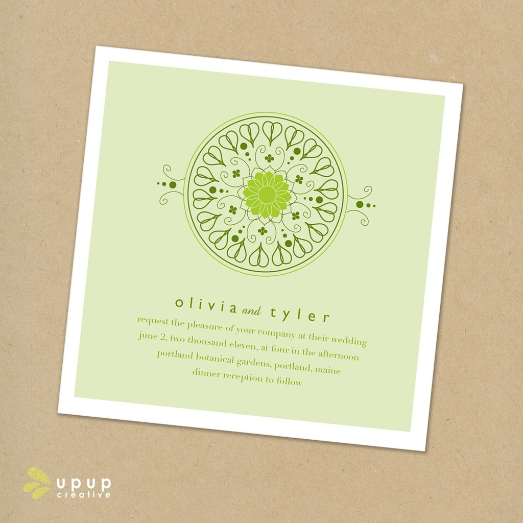 Eco Friendly Square Wedding Invitation Set With Green And White Color Palette