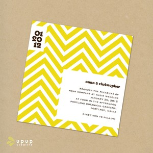 photo of Chevron eco-friendly DIY wedding invitations kit by Up Up