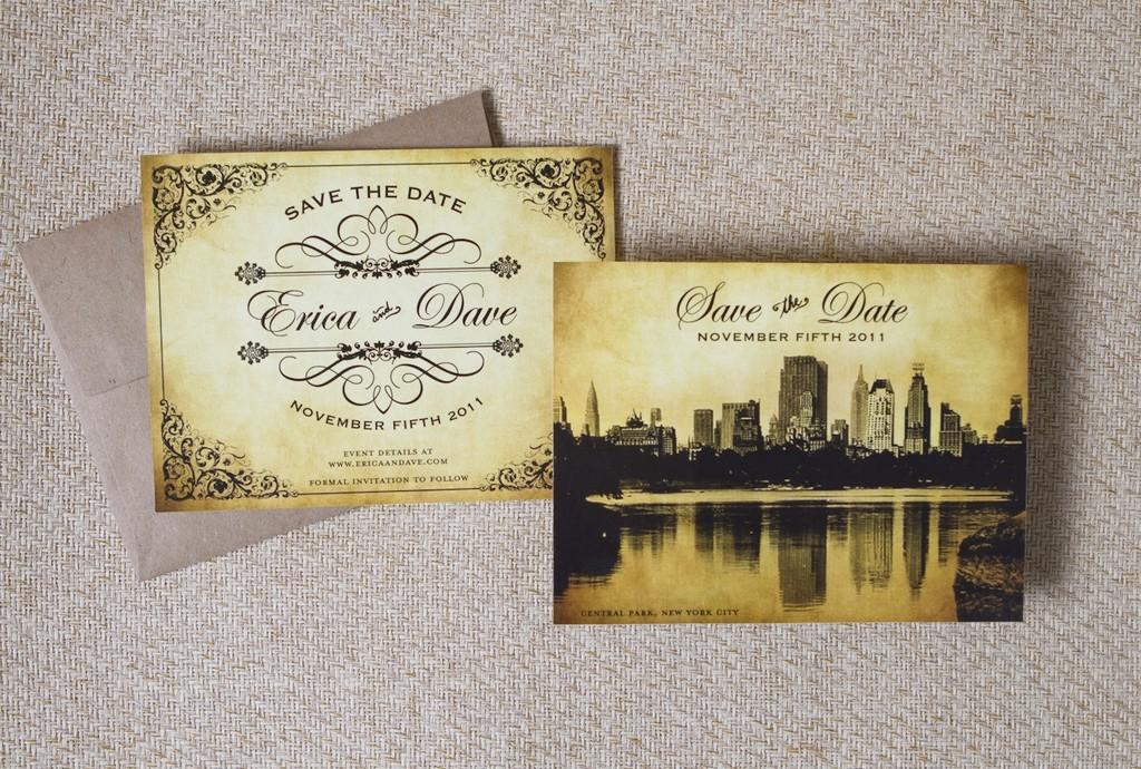 Eco Friendly White Letterpress Wedding Invitations With Romantic Cityscape  Design