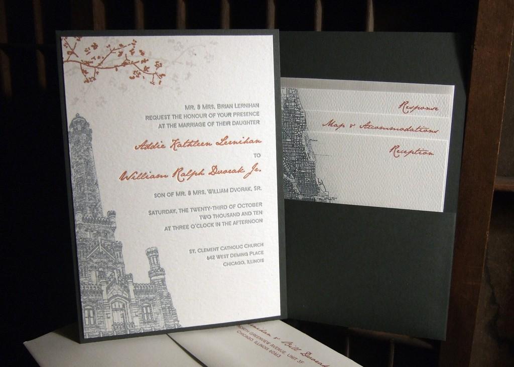 Wedding Invitations Eco Friendly: White, Charcoal Grey And Burnt Orange Eco-friendly