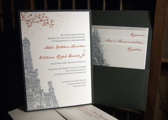 photo of Eco-friendly custom letterpress wedding invitation by Tweedle Press