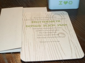 photo of Eco-friendly wood grain wedding invitations by Lauren Lowe Design