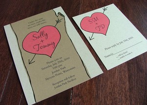 photo of Modern initial heart in tree eco-friendly wedding invitation by Rethink Ink