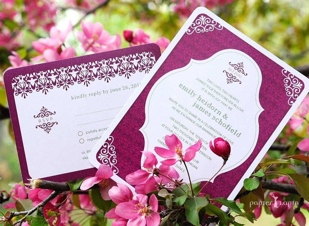 recycled wedding invitation with adorable save-the-date calender