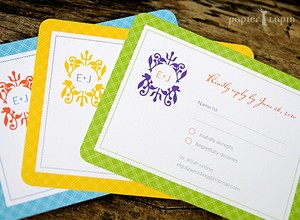photo of Jolly Checker eco-friendly wedding invitation set by Papier Lapin