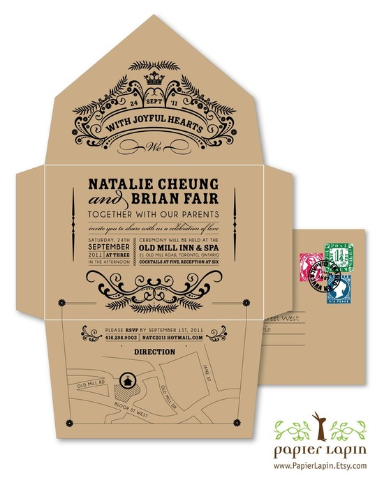 Retro, vintage-inspired recycled wedding invitation on Etsy for your green wedding