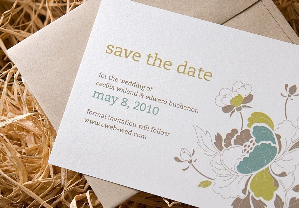 Eco Friendly White Letterpress Wedding Invitations With Cityscape Design