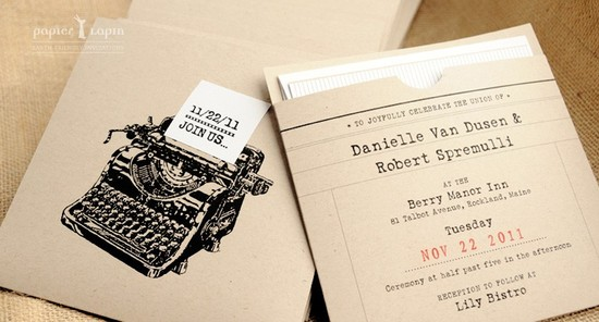 photo of Retro typewriter eco-friendly wedding invitation by Papier Lapin